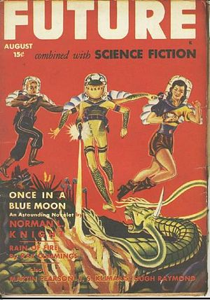 """Norman L. Knight - Knight's novella """"Once in a Blue Moon"""" was the cover story for the August 1942 issue of Future"""