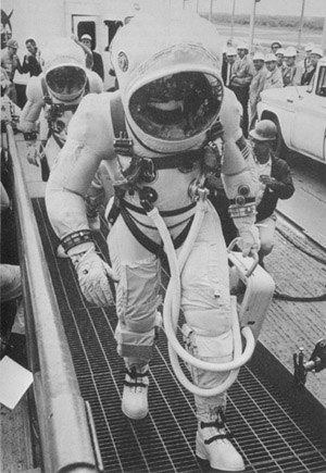 Frank Borman - Frank Borman and Jim Lovell walking up the ramp to the elevator before the Gemini 7 mission