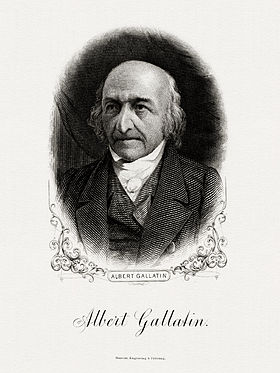 Bureau of Engraving and Printing portrait of Gallatin as Secretary of the Treasury.