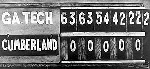 1916 in sports - Final score of the 1916 Cumberland vs. Georgia Tech football game