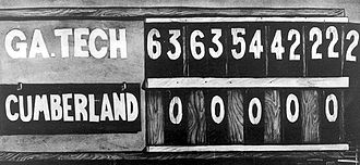 John Heisman - The 1916 scoreboard, showing football's worst blowout