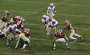 2014 Georgia Tech Yellow Jackets football team - Georgia Tech's Zach Laskey rushing at the 2014 ACC Championship Game.