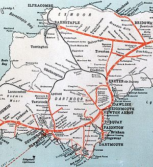 Ilfracombe branch line - Part of a GWR route map, showing the extent of Devon's railways in the 1920s. The Ilfracombe Branch Line is top-left. GWR lines are shown in red; other companies in black.