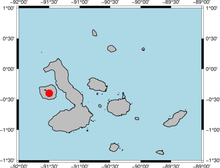 Map of the Galápagos islands with a red dot over the mantle plume location