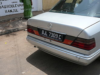Vehicle registration plates of the Gambia - Current Gambian number plate in Banjul
