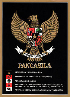 Pancasila (politics) official Indonesian political ideology, consisting of 5 principles: monotheism; justice and civilization; an unified Indonesia; representative democracy; social justice for all