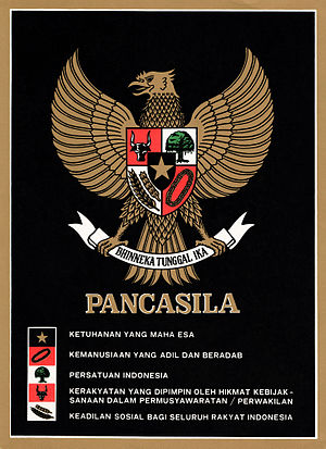 Pancasila (politics) - A depiction of the Garuda Pancasila on a c. 1987 poster; each tenet of the Pancasila is written besides its symbol.