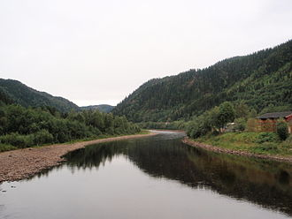 Gauldal - View of the Gaula River at Kotsøy in Midtre Gauldal