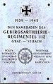Gedenktafel Gebirgsartillerie Regiment 112, Villach, Kärnten.jpg