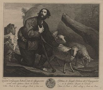 Simon Fokke - Jacob keeping the Flocks of Laban; after Jusepe de Ribera, now in the Gemäldegalerie Alte Meister in Dresden, copper engraving from ca. 1750