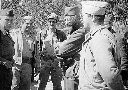 Chetniks leader General Mihailovic with the members of the US military mission, Operation Halyard 1944 General Mihailovic with US Officers.jpg