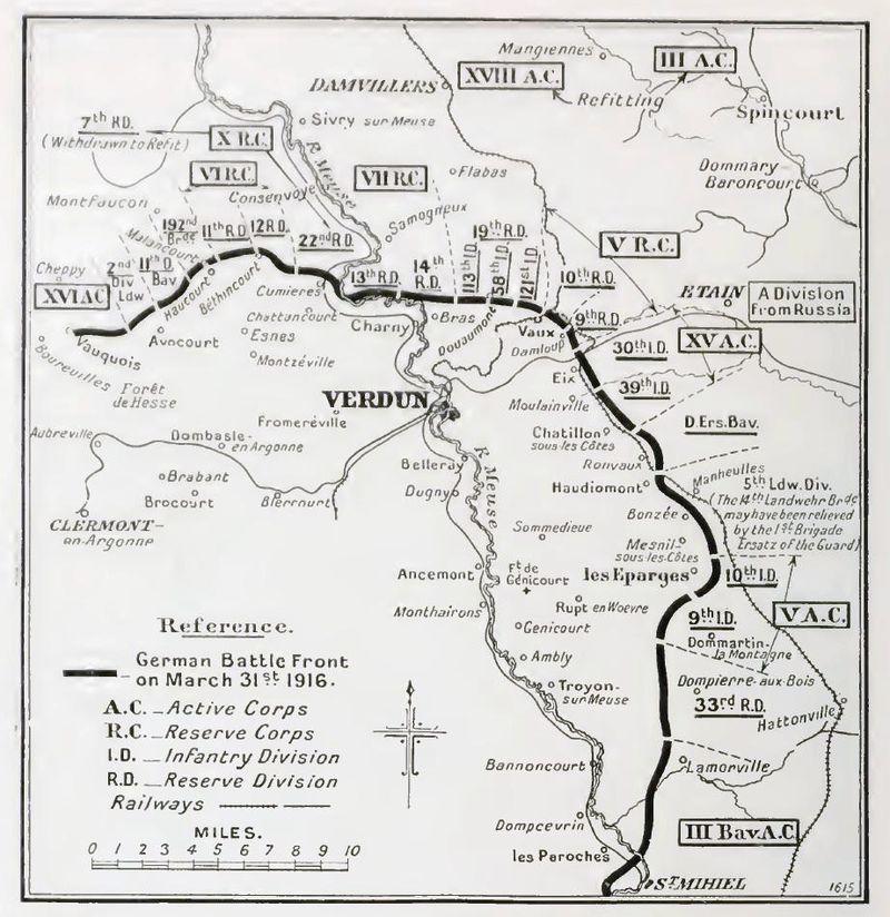 despliegue alemán, 31 de marzo de 1916