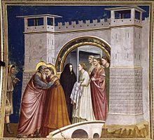Giotto, Rencontre de la Porte Dorée (entre 1304 et 1306), Chapelle des Scrovegni, Padoue.