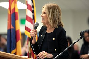 Gloria Steinem - Gloria Steinem speaking with supporters at the Women Together Arizona Summit at Carpenters Local Union in Phoenix, Arizona, September 2016.