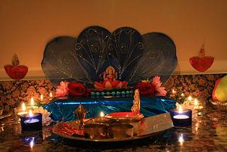 Lakshmi Puja Main festive day during Diwali, dedicated to the Hindu Goddess Lakshmi