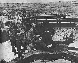 Battle of the Ebro - Republican antiaircraft artillery in the Battle of the Ebro.