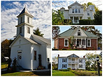 Graysontown, Virginia - National Register of Historic Places for Graysontown Virginia. Starting clockwise, Grayson-Gravely House, Bishop House, John Grayson House, and Graysontown Methodist Church.