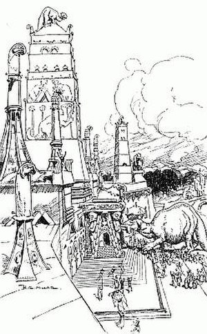 The Magic City (novel) - Temple of the Great Sloth, illustration by H. R. Millar