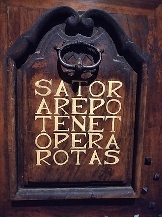 Sator Square - The Sator square on a wooden door in Grenoble (France)