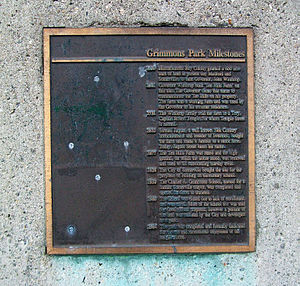 Ten Hills, Somerville, Massachusetts - Historic plaque at Grimmons Park on Gov. Winthrop Road in Somerville, Massachusetts