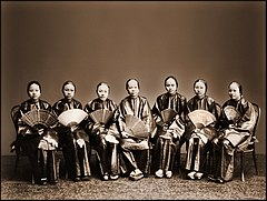 Group Of Chinese Women With Fans, Canton, China (c1880) Afong Lai (RESTORED) (4071802299).jpg