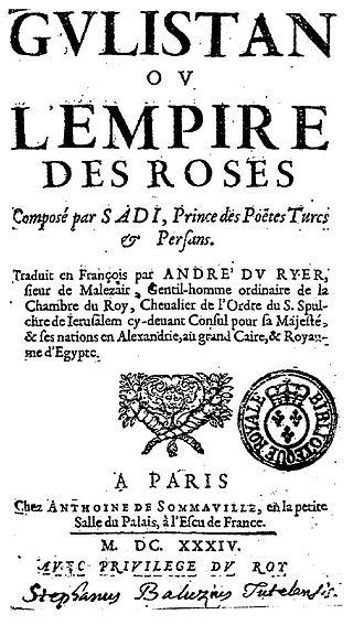 Gulistan (book) - Frontispiece of André du Ryer's translation