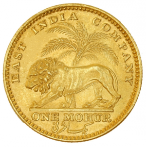 "Gold Ashrafi - East India Company gold mohur of 1841, reverse. ""One Ashrafi"" is written on it in the Persian language."