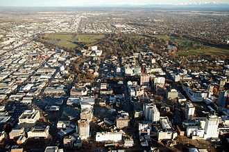 Christchurch Central City - Aerial view of the central city in July 2012, with many of the earthquake-damaged tall buildings still standing