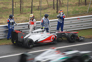2012 Brazilian Grand Prix - Lewis Hamilton retires from the race on lap 54