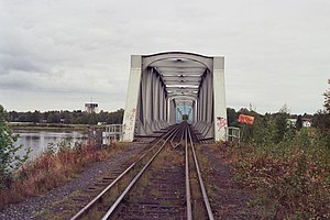 Tornio - The bridge over Torne river with dual gauge tracks.