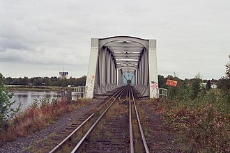 Haparanda - The bridge over Torne river with dual gauge tracks.