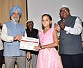 """Hardeep Singh Puri distributing the prizes to the winners for Painting, Essay, Slogan, Graffitti competition, at a function, organised by Hindustan Prefab Limited, as part of the """"Swachhta Hi Seva"""" Abhiyan, in New Delhi (2).JPG"""