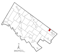 Location of Hatboro in Montgomery County, Pennsylvania.