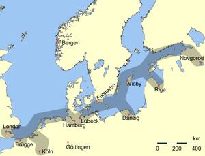 Dominium maris baltici - Main trading routes of the Hanseatic League.