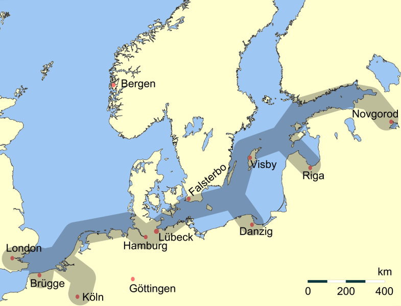 Main trading routes of the Hanseatic League