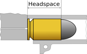 Headspace (firearms) - A pistol cartridge which headspaces off the case mouth, e.g. .45 ACP