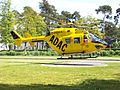Helicopter BK 117 taking off from university clinic helipad in Bonn.JPG