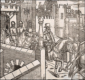 Henry Sidney - Sir Henry Sidney sets out from Dublin Castle. Detail from a plate in The Image of Irelande, by John Derrick (London, 1581).