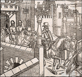 Tudor conquest of Ireland - Henry Sidney, Lord Deputy of Ireland under Elizabeth I, sets out from Dublin Castle. Detail from a plate in The Image of Irelande, by John Derrick (London, 1581).