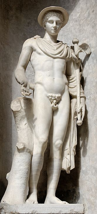 Hermes - Hermes Ingenui (Vatican Museums), Roman copy of the 2nd century BC after a Greek original of the 5th century BC. Hermes wears kerykeion, kithara, petasus (round hat), traveler's cloak and winged temples.