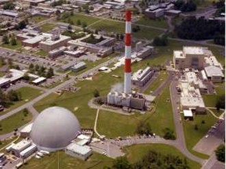 Brookhaven National Laboratory - View of Brookhaven National Laboratory campus, with the High Flux Beam Reactor in the foreground