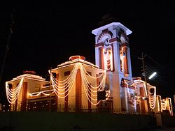 Himatnagar Public Library and Clocktower at night of Swarnim Gujarat Event