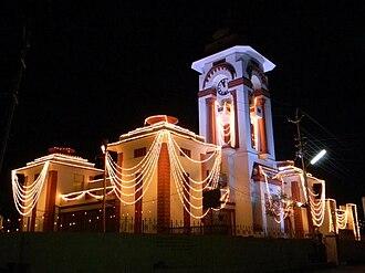 Himatnagar - Himatnagar Public Library and Clocktower at night of Swarnim Gujarat Event