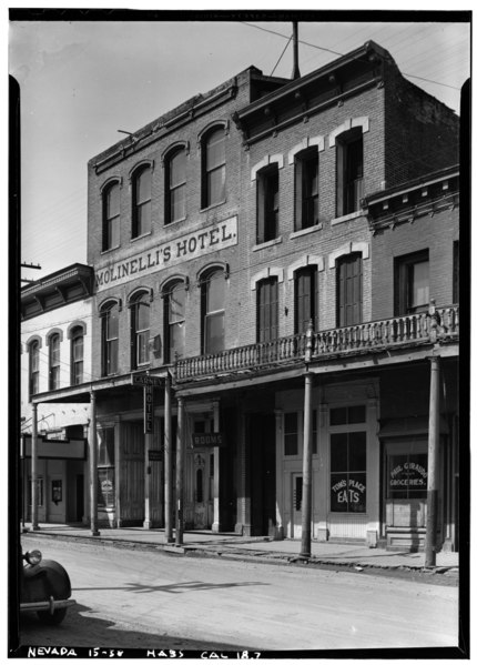 File:Historic American Buildings Survey Robert W. Kerrigan, Photographer March 1937 - Molinelli's Hotel, C Street, Virginia City, Storey County, NV HABS NEV,15-VIRG,13-1.tif