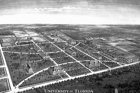 An artist's rendering of the University of Florida's Gainesville campus in 1916, looking from the northeast. Historic Layout University of Florida.jpg