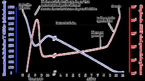 Curso típico de la infección por VIH. Los detalles, en particular los plazos, varían ampliamente de un infectado a otro. En azul, evolución del recuento de linfocitos T CD4+. En rojo, evolución de la carga viral.
