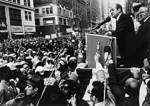 United States presidential election in New York, 1968 - Vice President Hubert Humphrey at a campaign rally in New York City, 1968.