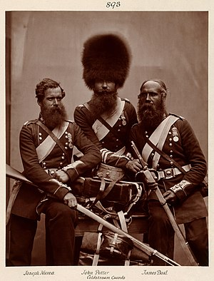Coldstream Guards in 1856, just after the Crimean War