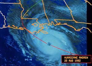 Hurricane Andrew - Satellite image of Hurricane Andrew approaching Louisiana