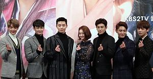 Choi Min-ho (entertainer) - Minho (to the left) at Hwarang press conference in 2017.